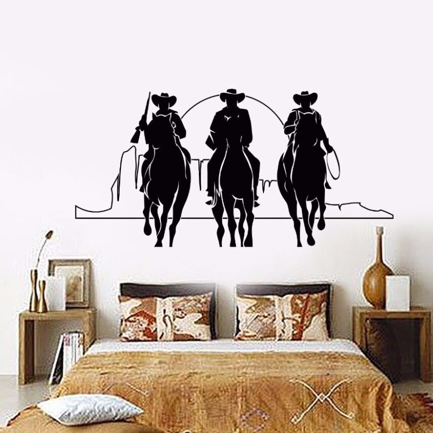Home Decor Vinyl Wall Decal Western Cowboys Wall Sticker Removable Horses Sunset Movie Cinema Stickers Home Decor Mural AY424