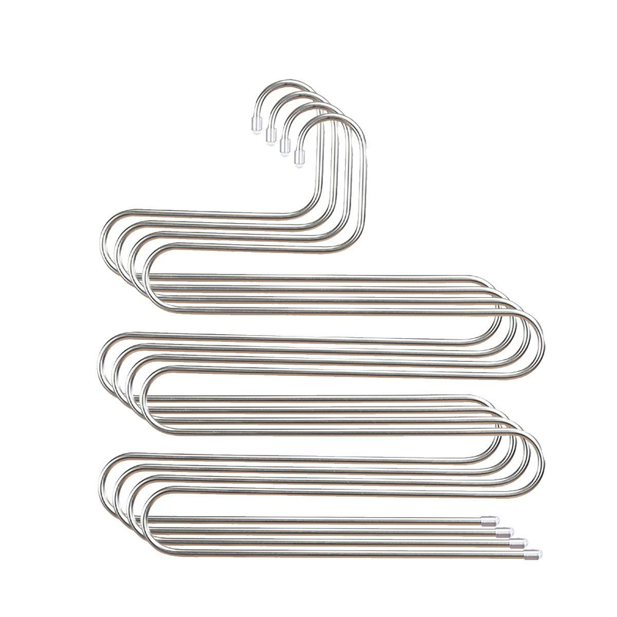4PCS Multi Pants Hanger Rack Trousers Stainless Steel S type 5 Layers Clothes Belt Hangers Space