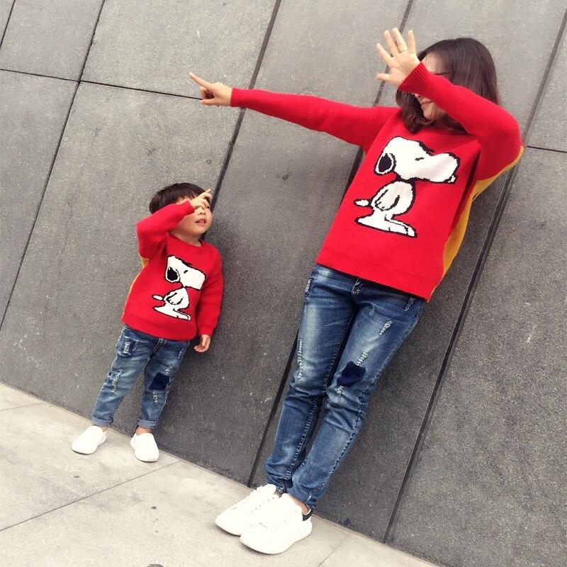 בן בת אמא תלבושות משפחת Cartoon כלב התאמת חולצות סוודרי שרוול ארוך סוודר חם סתיו בגדים אדומים נקבה