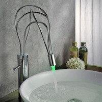 New Arrival High Quality Brass Material Chrome Single Lever Bird Nest Design LED Bathroom Basin Faucet