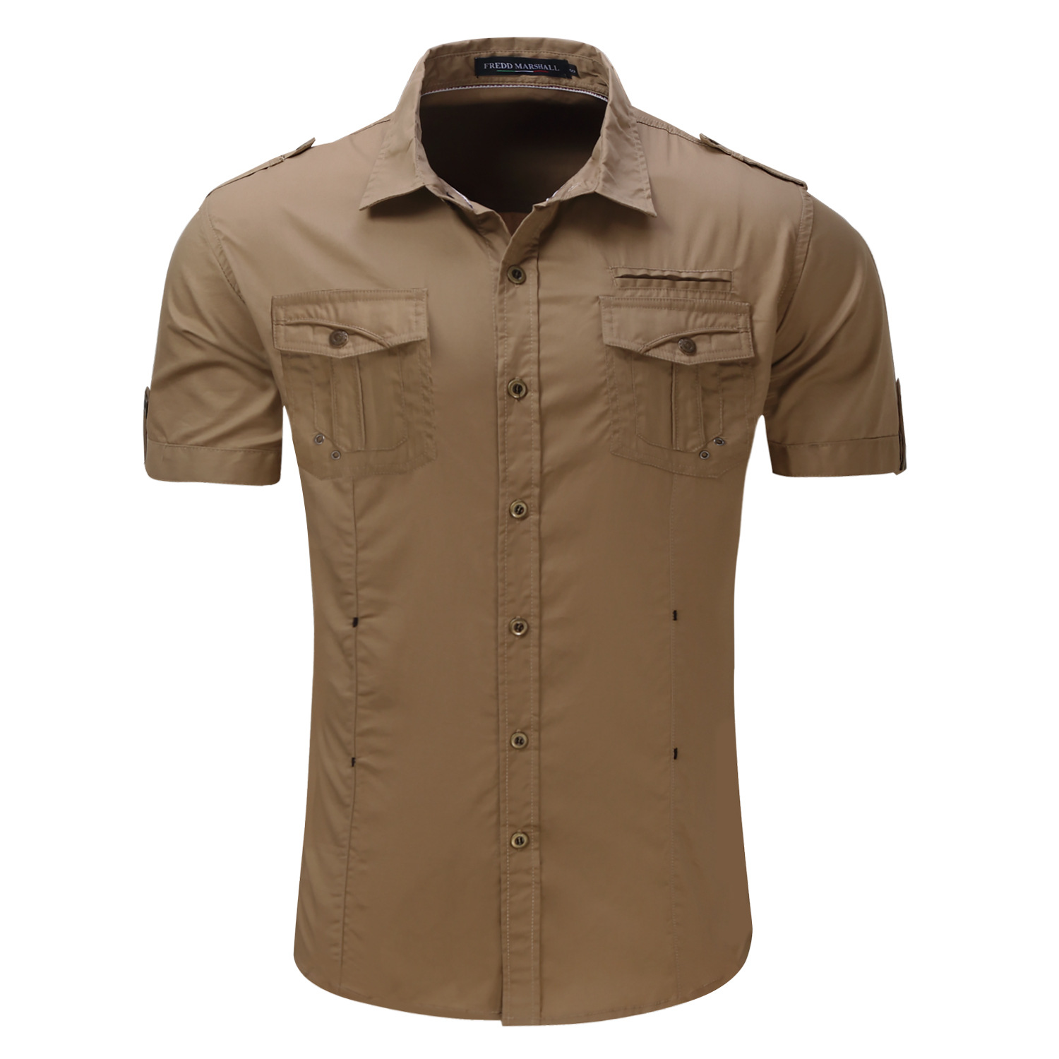 New Mens Cargo Shirt 100% Cotton Men Casual Shirt Solid Short Sleeve Shirts Work Shirt with Wash Standard plus Size