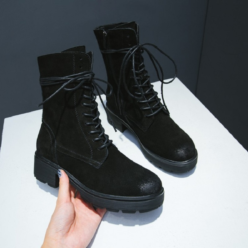 2017 autumn and winter new leather Martin boots low tuber round head thick comfortable with the front lace warm women's boots 2017 autumn and winter new plus velvet thick women s boots soft bottom comfortable breathable mother shoes wild leather