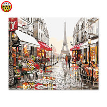 Digital oil painting itself handmade DIY decoration drawing room bedroom sofa background hanging picture Paris lovers Street(China)