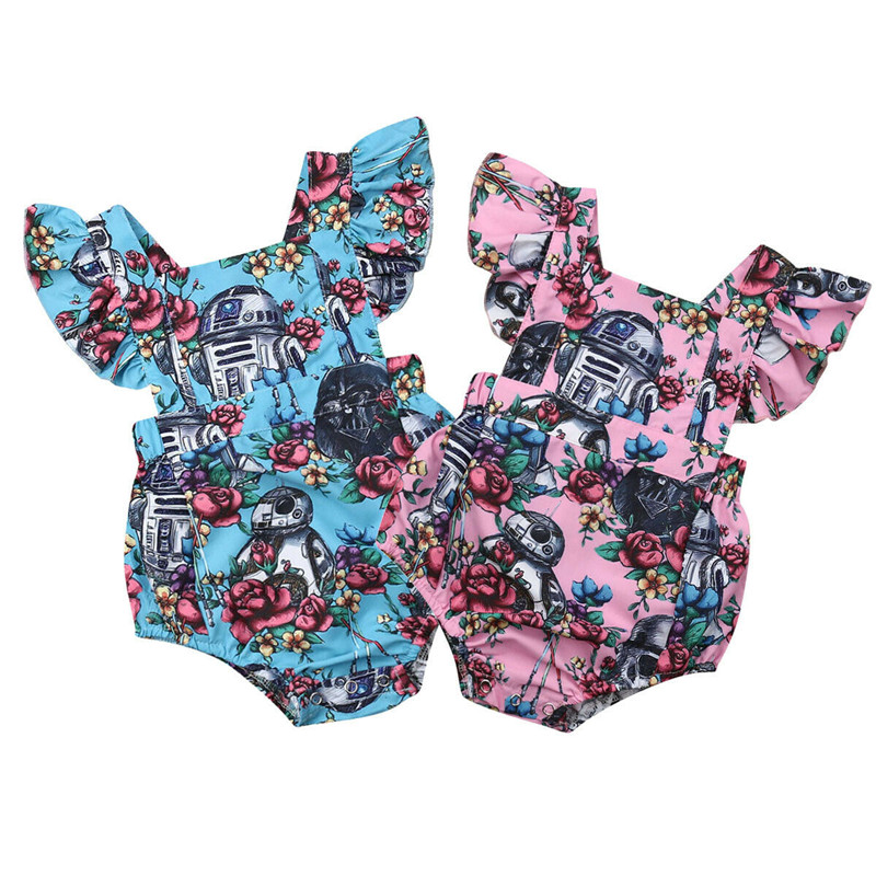 Infant Baby Girls Floral Printed Cotton Romper Summer Sleeveless Star War Jumpsuit Newborn Baby Playsuit Outfits Clothes 0-18M