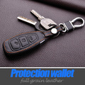Free shipping leather keychain keyring cover case holder for ford 2013 2014 focus 3 fiesta kuga ecosport fusion