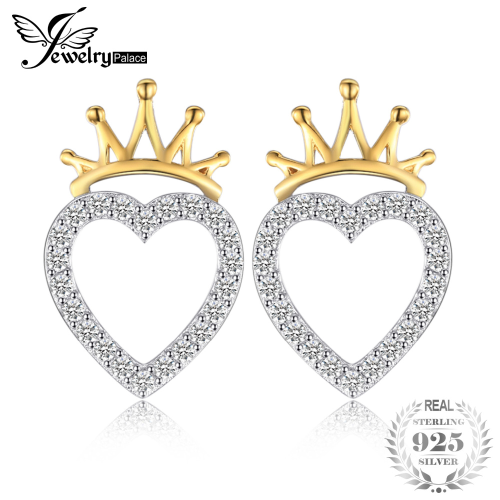 Jewelrypalace Love Heart 0.23ct Cubic Zirconia Crown Gold Plated Stud Earrings For Women Charm 925 Sterling Silver Fine Jewelry