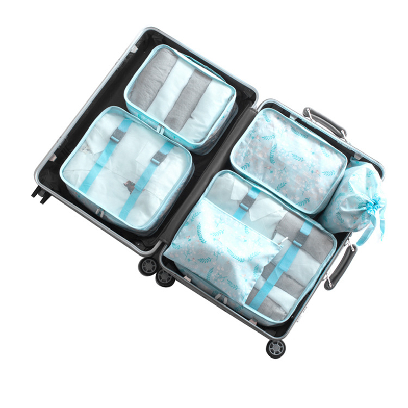 Travel Luggage Storage Bags Packing Cubes Bag 6pcs/set Men/women Cosmetic Shoe Underwear ...