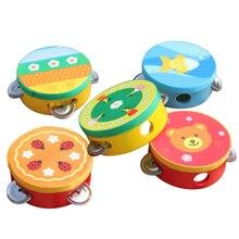 Children's Musical Instrument Baby Drum Children Hand Bells Musical Instrument Handbells Educational Cartoon Baby Drum Wooden