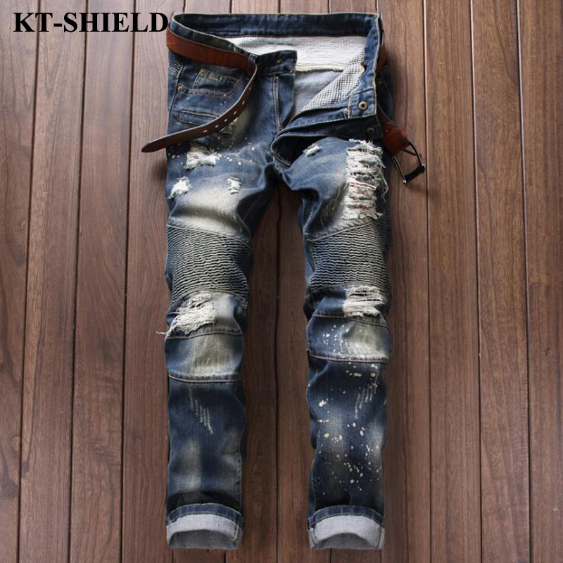 Men Jeans New arrival brand fashion design ripped denim trousers for man slim fit casual distressed