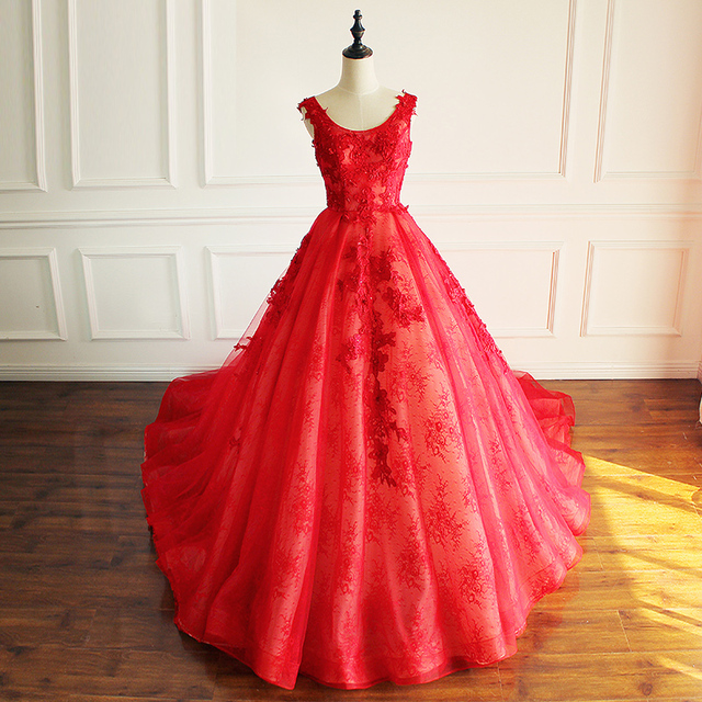 SoAyle Ball Gown Round Neck Red Prom Dresses 2017 Lace Beading Vestidos De  Festa for Graduation Fluffy Gorgeous High Quality 1d54234b5bc8