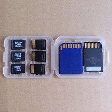 Пластиковый прозрачный чехол для карт памяти SD, SDHC, TF, MS, 8 в 1, 1 шт.