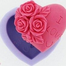 3D силиконовая форма для мыла, сердце, любовь, цветок, шоколадная форма 6,7x3 см лампы в форме свечи формы из полимерной глины, сделай сам, формы для мыла инструмент E142
