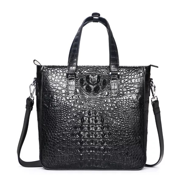 Fancy Designer Genuine Crocodile Alligator Leather Businessmen Black Brown Totes Handbag Male Single Cross Shoulder Bag For Man