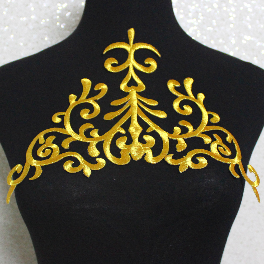 YACKALASI 5 st / Lot Iron On Gold Ansökningar Flower Cosplay Kostymplagg Broderade Trims Guld Och Silver 28cm * 17cm