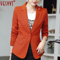 Yesvvt Autumn And Winter Women Blazers And Jackets 2017 Full Sleeve Blazer Women Single Button Ladies