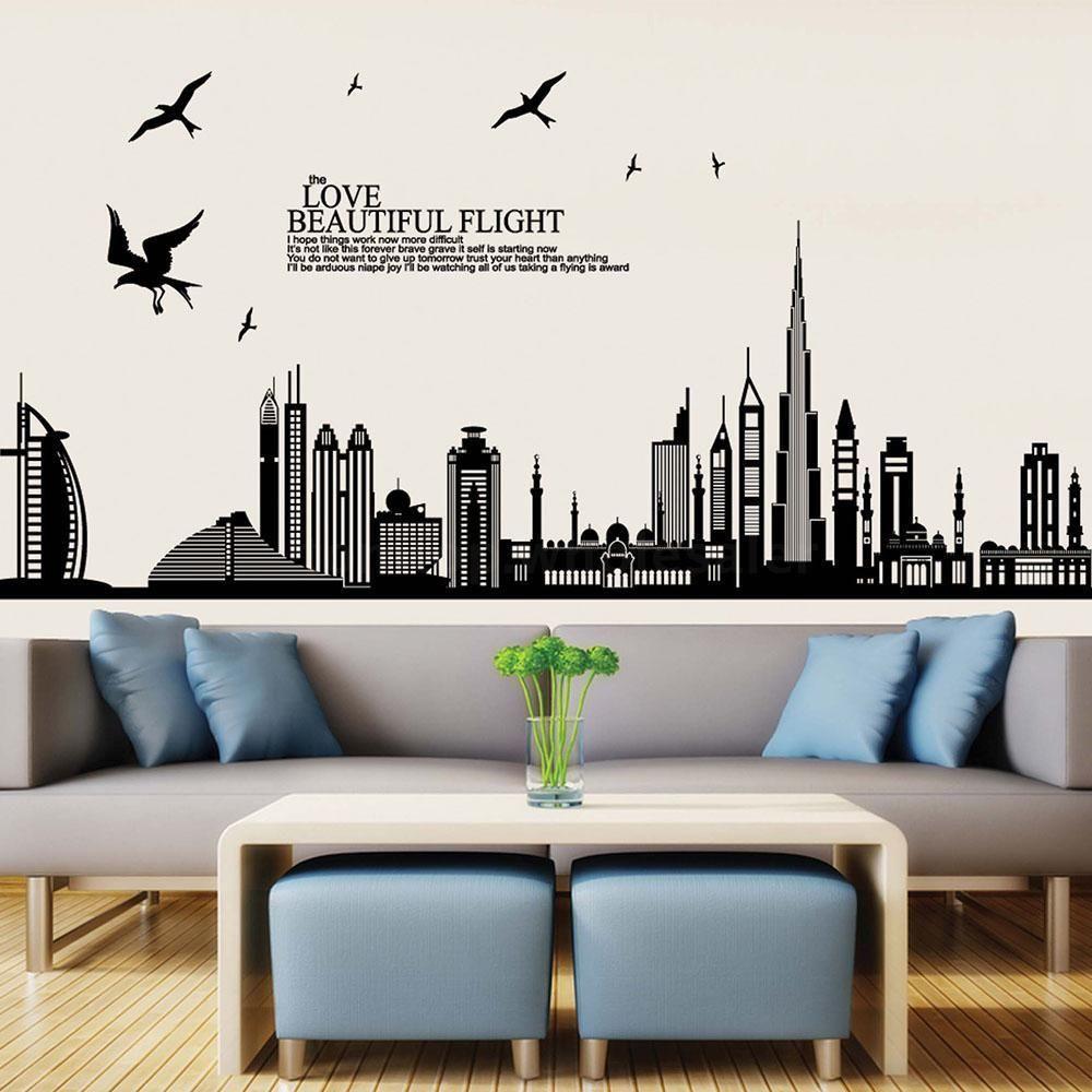 wall sticker skyline cartoon reviews online shopping wall sticker decor wall art wall decor wall stickers shopclues