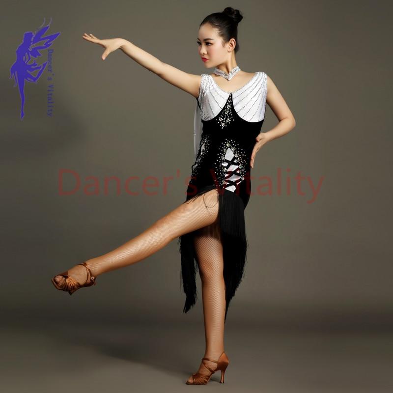 New Latin Dance Costumes Sexy Gauze Senior Stones Tassel