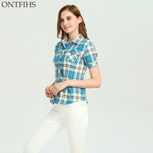 ONTFIHS Cotton Women tops and Blouse Fashion Plaid & Checks Shirt short Sleeve Shirt New kimono cardigan Women's tunic S-24