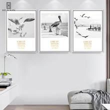 Minimalist Instagram Style Seascape Unframed HD Pattern Paintings Seagulls Decorative Canvas Posters For Bedroom Decoration minimalist fresh unframed paintings little girls back canvas posters wall painting art print for home bedroom decoration