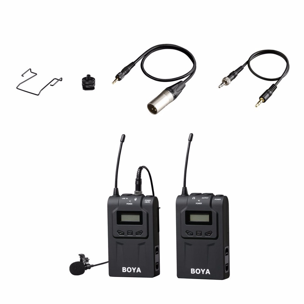 BOYA Professional Wireless Microphone System 48 Channel Omni-directional Lavalier Microphone For DSLR Camcorders