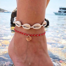 Fashion summer beach wind winding red rope shell clamshell pendant alloy anklet