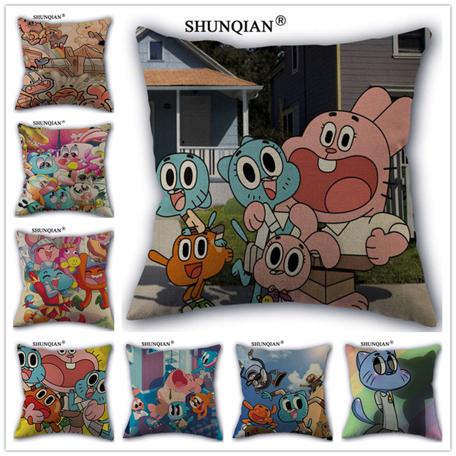 Linen Cotton The Amazing World of Gumball Pillow Cover Custom Print Home Decorative Pillows Cases 45x45cm one side WZ5166