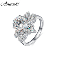 AINOUSHI 925 Sterling Silver Engagement Rings for Women Big 5 Carats Pear Cut Ring Lover Wedding Jewelry anel masculino de prata