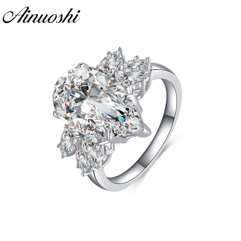 AINOUSHI 925 bagues de fiançailles en argent Sterling pour femmes grand 5 Carats bague en forme de poire bijoux de mariage amoureux anel masculino de prata