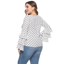 Women's Casual Polka Dot Flare Sleeved Top