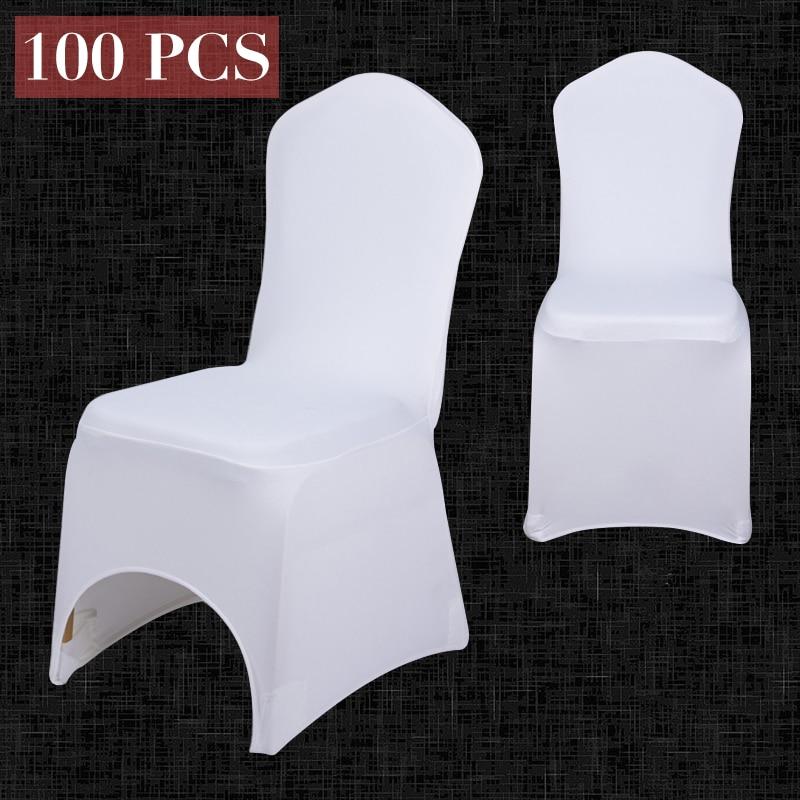 100 kom. Veleprodajna univerzalna bijela navlaka za stolice za svadbene bankete za zabavu za zabave za zabavu Spandex Lycra blagovaonski stol