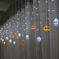 Led Curtain Light AC220V Halloween Decoration Pumpkin Skull Spider Eye Fairy Light DA