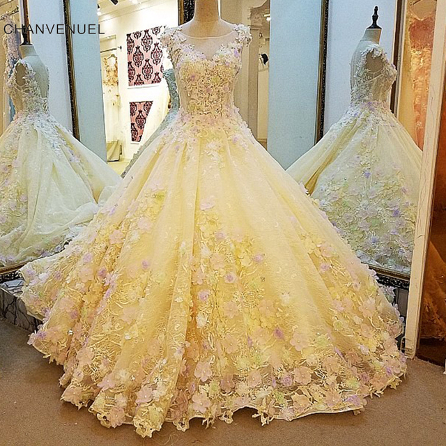 Ls00109 Luxury Wedding Dress For Bridal Beading Ball Gown Flowers Lace Gowns Vestidos De