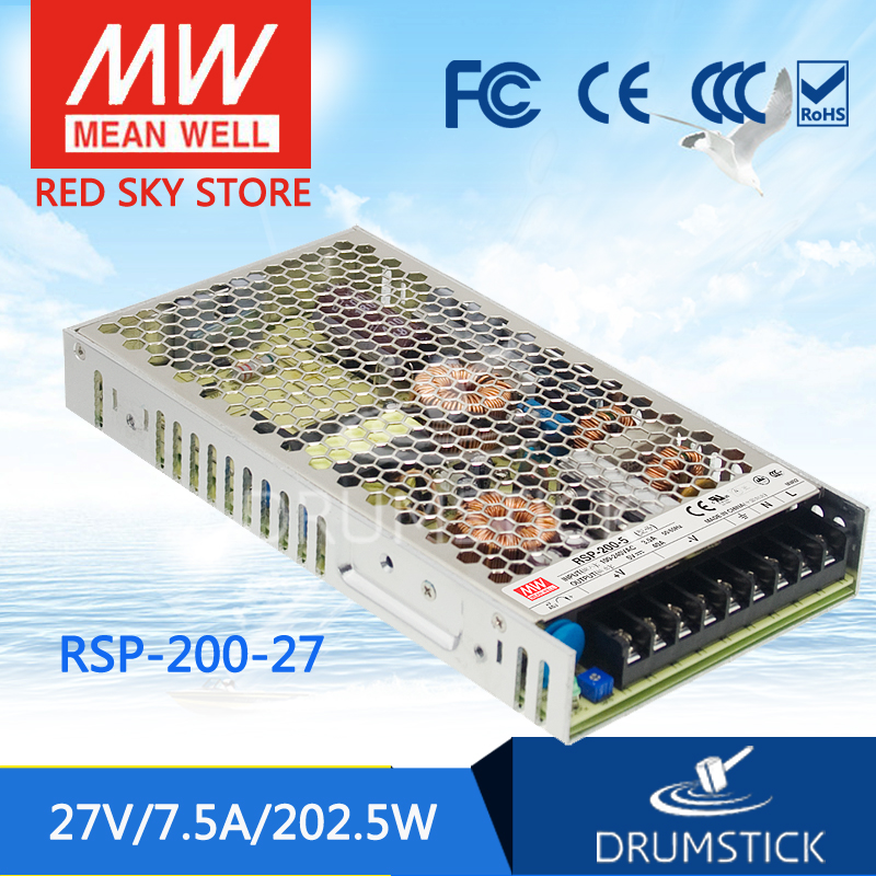 Selling Hot MEAN WELL RSP-200-27 27V 7.5A meanwell RSP-200 27V 160W Single Output with PFC Function Power Supply best selling mean well se 200 15 15v 14a meanwell se 200 15v 210w single output switching power supply