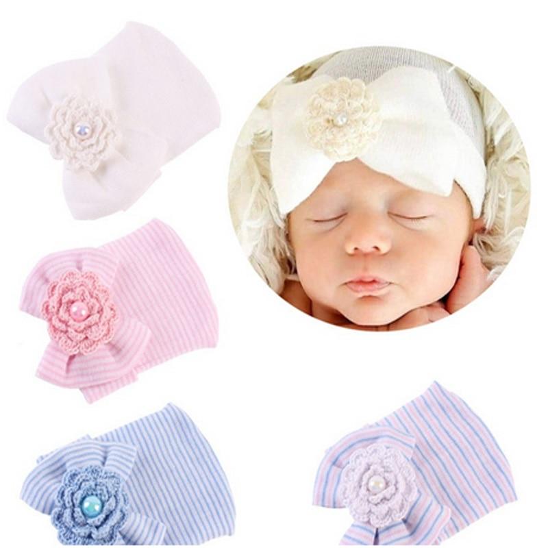 Cute Infant Baby Beanie Cap Newborn Bowknot Stripe Hat Toddler Hospital Girl