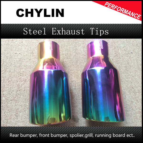 1 Pair Universial Colorful Purple Chrome Car Stainless Steel Round Tail Muffler Tip Pipe Automobile Single Exhaust Pipes Tips