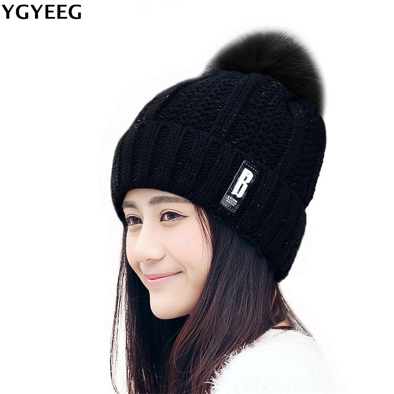 YGYEEG 2017 NEW Beanies Women Girl 's Winter Hats Crochet Cap Fur Knitted Pompons Ball Warm Gorros Thick Female Cap High Quality winter women beanies pompons hats warm baggy casual crochet cap knitted hat with patch wool hat capcasquette gorros de lana