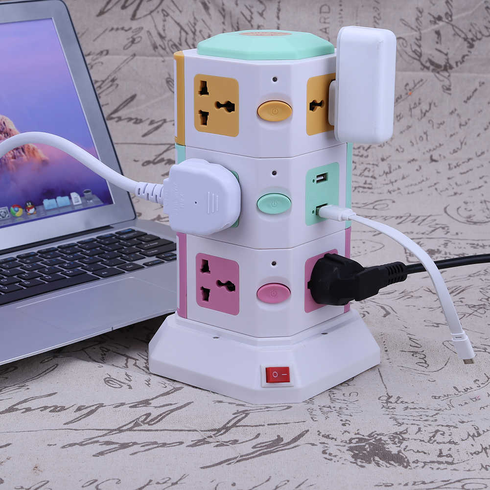 3 Layer Universal Smart Electrical Plugs Vertical Power Socket Outlet AC Power Suit +2 USB Ports With Independent Switch Sockets