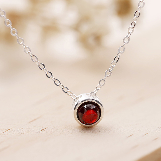 Fashion simple 925 sterling silver necklace sweet cute round small fashion simple 925 sterling silver necklace sweet cute round small red stone pendant necklace women jewelry aloadofball Image collections