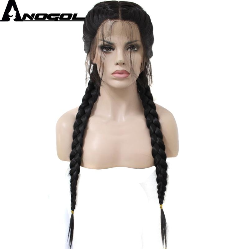 Anogol parte média longa tranças duplas em linha reta natural preto trançado peruca dianteira do laço suíço marrom claro sintético com cabelo do bebê