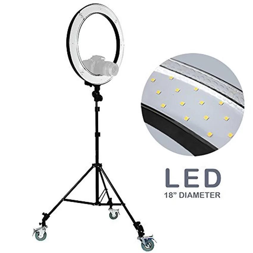 Prix pour Fosoto RL-18 Photographie Éclairage Vidéo Studio photo Numérique Caméra & support et 3 Roues Kit 5500 K Dimmable240 LED Anneau lumière Lampe