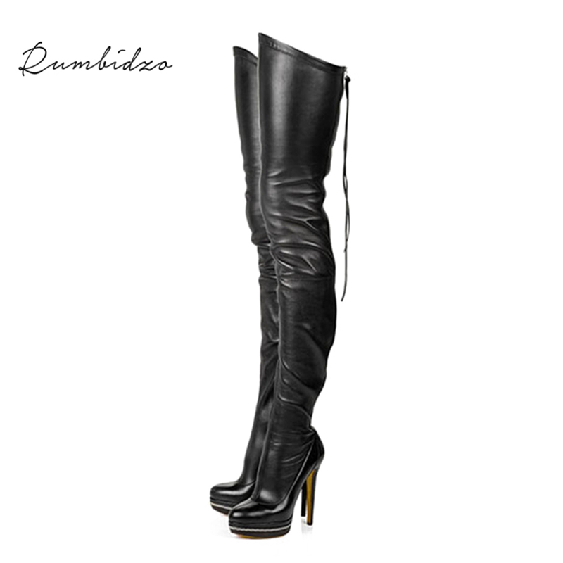 Rumbidzo 2018 Fashion Women Boots Stretch Over the Knee High Sexy Ladies Party High Heels Platform Shoes Woman Dress Plus Size new sexy women boots winter over the knee high boots party dress boots woman high heels snow boots women shoes large size 34 43