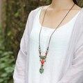 winter retro folk style ceramic Necklace long sweater chain female 100 jewelry ornaments collocation MX2048