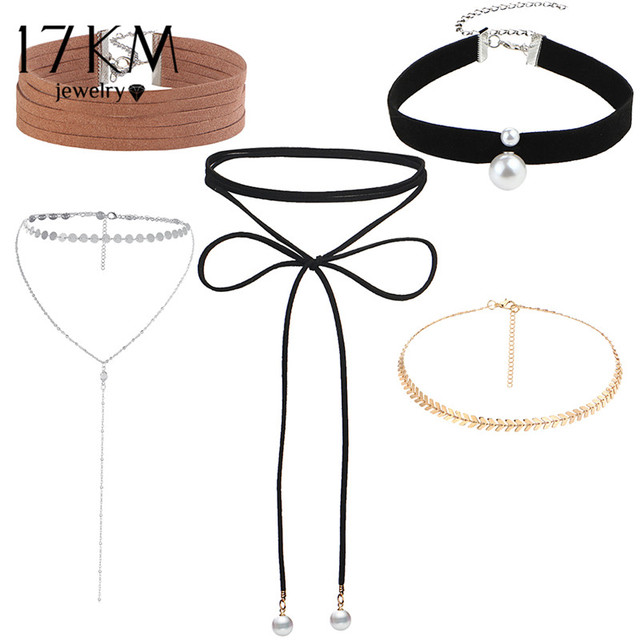 17KM New Fashion Sequins Choker Set Punk Leather Long Necklaces Multilayers Pendant Statement Necklace Party Jewelry for Women