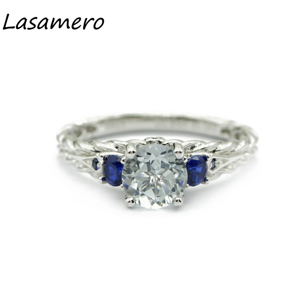 LASAMERO Rings for Women 0.85CT Round Cut Natural Aquamarine Rings 925 Silver Engagement Wedding Rings 6pcs of stylish color glazed round rings for women