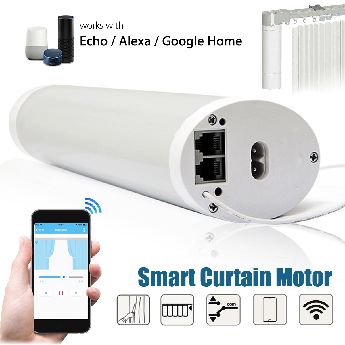 Kinco WIFI RC Smart Mute Curtain Motor APP Control Works With Alexa Google Home Voice Control Smart Home frankever smart products wifi voice control discolourable bulb for bedroom club compatible with alexa google home