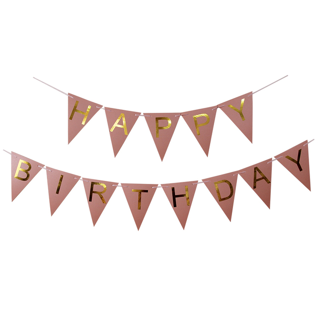 Pink Happy Birthday Decoration Flags Golden Paper Birthday Party Decor Banners Christmas Home Door Wall Sign  sc 1 st  AliExpress.com : door banners flags - pezcame.com
