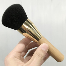 Extra large golden bamboo handle aluminum foundation brush super soft fiber hair professional makeup brush free shipping S475