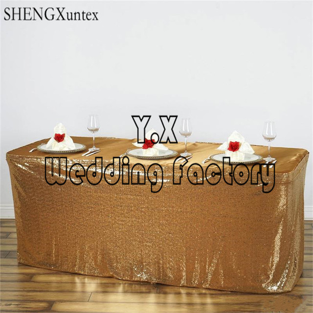 2PCS Lot ELegant Design Sequin Table Skirt \ Table Cloth Skirting For  Wedding Decoration