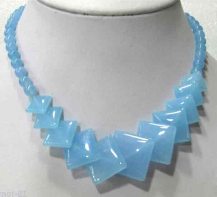 "Jewelry Pearl Necklace Beautiful Natural Sky Blue stone Round &Square Gems Beads Necklace 17""   Free Shipping"