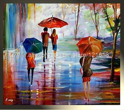 Rain happy peinture contemporaine tableau moderne contemporain oil paintings abstract canvas art for Peinture moderne